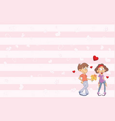 valentines card with cute guy and girl in love vector image