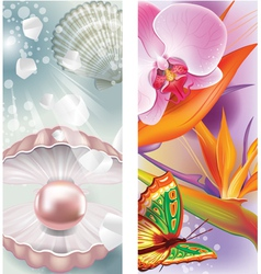 Vertical banners with pearl and flowers vector