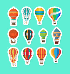 Vintage hot air balloons stickers set vector
