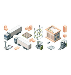 warehouse building trucks and loading equipment vector image