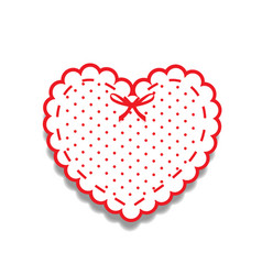 White and red paper cut heart sticker with ribbon vector
