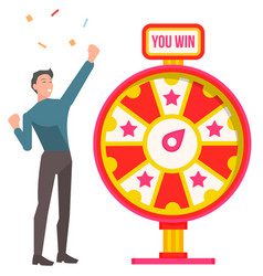 Win and fortune wheel man winner and confetti vector
