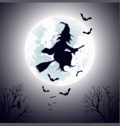 Witch flying on broomstick template vector