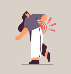 Woman suffering from back pain inflammation vector