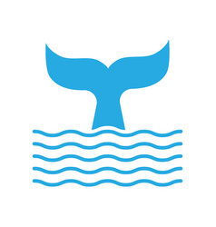 abstract symbol of whale tail and sea wave vector image