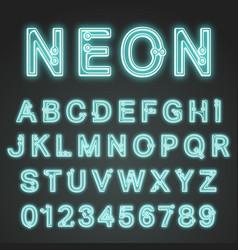 Alphabet font neon design vector