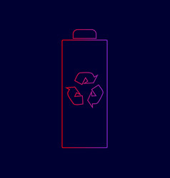 battery recycle sign line vector image vector image