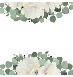 floral card design with garden white roses vector image