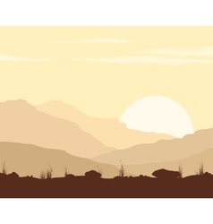 Landscape with sunset in mountains vector image vector image