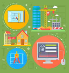 real estate design concept set with sale vector image vector image