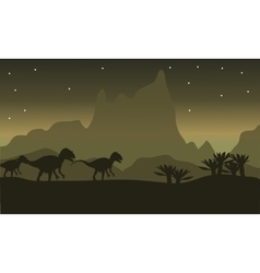Silhouette of tyrannosaurus family with star vector image