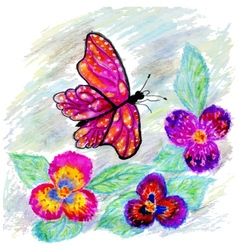 Watercolor Butterfly Design2 vector image vector image