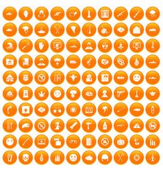 100 oppression icons set orange vector image vector image