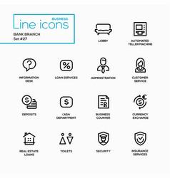 bank branch - modern single line icons set vector image vector image