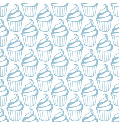 cream cupcake seamless white blue pattern vector image vector image