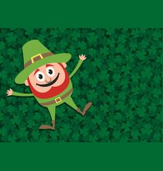 happy leprechaun on clovers vector image vector image
