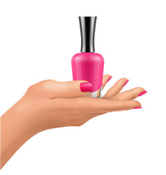 nail polish bottles on hand with shiny lacquer vector image