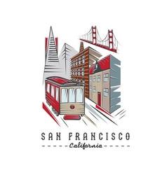 San Francisco Golden gate bridge buildings and vector image vector image