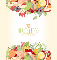 the fruits and the text vector image