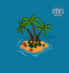 Tropical island with palm trees crabs and sea sta vector