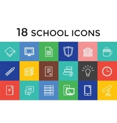 Back to school 16 icons set science vector
