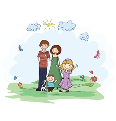 family in the park vector image