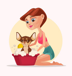 happy smiling dog character takes bath with woman vector image