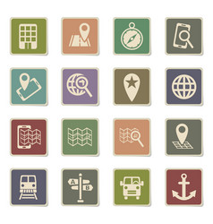 navigation ransport map icon set vector image vector image