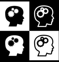 thinking head sign black and white icons vector image vector image