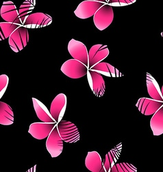 Tropical palm leaves over pink frangipani seamless vector image