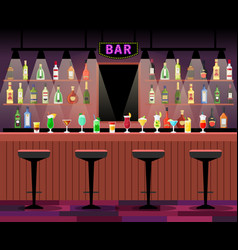 bar counter with alcohol drinks vector image