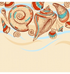 Beach background with sea shells vector image vector image