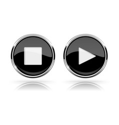 Black round media buttons play and stop buttons vector