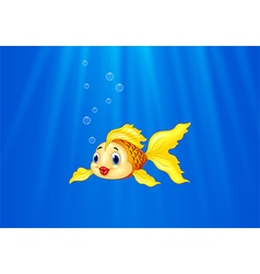 Cartoon goldfish swimming in the water vector image vector image