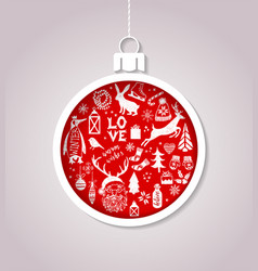 christmas ball made of paper vector image vector image