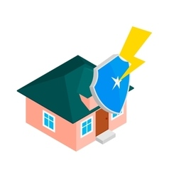House protect by shield icon isometric 3d style vector image vector image