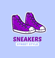 pair of sneakers icon or shoes shop logo vector image