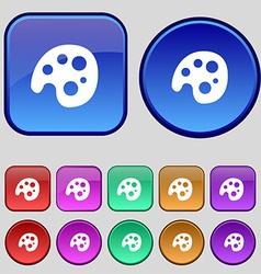 Palette icon sign A set of twelve vintage buttons vector image