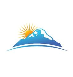 Sunny mountain logo vector image