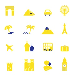 travel vacation and landmarks icons vector image vector image
