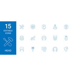 15 head icons vector
