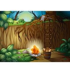 A bonfire in jungle vector
