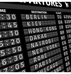 Airport departure board in perspective vector image