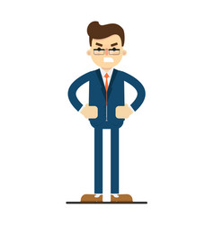 angry businessman with hands on waist gesture vector image