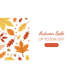 autumn sale landing page template with bright vector image
