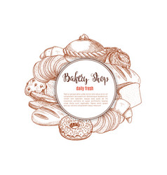 bakery shop bread and pastry sketch vector image