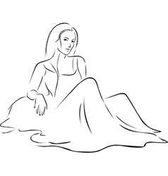 Beautiful Woman in dress sitting on the ground vector