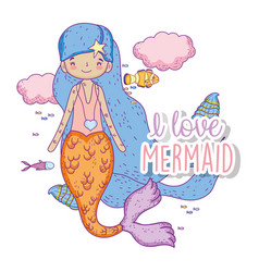 Beauty mermaid woman with clouds and fishes vector