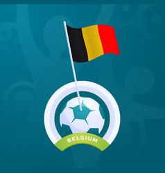 belgium flag pinned to a soccer ball european vector image
