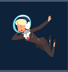blonde businesswoman in astronaut helmet flying in vector image